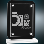 Floating Glass Standup Plaque Employee Awards