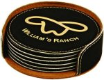 Black Round Leatherette Coaster Set Employee Awards