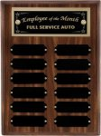 R1062 - Walnut Finish Plaque - 12 Plates Employee Awards