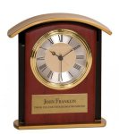Gold Top Mahogany Finish Clock Executive Gift Awards