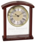 Glass & Rosewood Piano Finish Arch Clock Executive Gift Awards