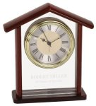 Glass & Rosewood Piano Finish Steeple Clock Executive Gift Awards