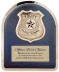 Police Badge on Blue Background Hero Plaque Fire and Safety Awards