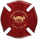 Rosewood Piano Finish Maltese Cross Plaque Fire and Safety Awards