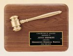 American Walnut Plaque with Antique Bronze Gavel Gavel Plaques