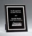 Black Glass Plaques with Silver Borders Glass Plaques