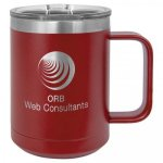 Polar Camel 15 Oz. Coffee Mug - Maroon Insulated Coffee Mugs