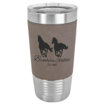 Polar Camel Lasered Leatherette Tumbler -Gray Insulated Pint Glasses - Leatherette