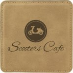 Leatherette Square Coaster -Light Brown Leatherette Gift Items