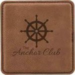 Leatherette Square Coaster -Dark Brown Leatherette Gift Items