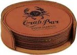 Leatherette Round Coaster Set -Rawhide Leatherette Gift Items