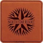 Leatherette Square Coaster -Rawhide Leatherette Gift Items