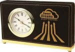 Black Leatherette Rectangle Desk Clock Leatherette Gift Items
