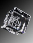 R1010 - Spectrum Beveled Cube Paper Weight Crystal Awards