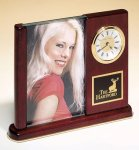 Rosewood Piano Finish Photo Desk Clock Photo Clocks