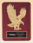 Rosewood Piano Finish Plaque with Gold Eagle Casting Piano Finish Plaques
