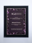 Violet Marble Plate on Black High Gloss Plaque Recognition Plaques
