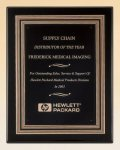 Black Piano Finish Plaque with Gold and Black Embossed Frame Recognition Plaques