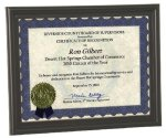 Bull Nose Edge Certificate Frame Recognition Plaques
