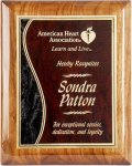 R1205 - Gloss Piano Finish Walnut Plaque & Wave Design Recognition Plaques