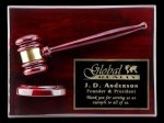 R1070 - Rosewood High Polish Finish Gavel / Block Plaque Recognition Plaques