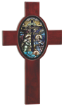 Rosewood Piano Finish Cross with Oval Recess Religious Awards