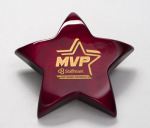 Rosewood Piano-Finish Star Paperweight with Felt Bottom Sales Awards