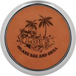 Leatherette Round Coaster with Silver Edge -Rawhide Sales Awards