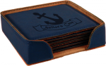 Leatherette Square Coaster Set -Blue Sales Awards