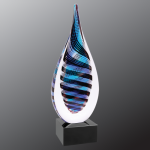 Blue/White/Black Twist Raindrop Art Glass Sales Awards