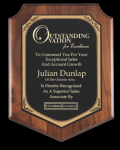 Walnut Finish Shield plaque Sales Awards