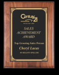 Rounded Edge Solid Walnut Plaque Sales Awards