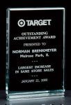 Classic Series 1 Thick Free-standing Acrylic Award. Square Rectangle Awards