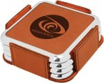 Leatherette Square Coaster Set with Silver Edge -Rawhide Square Rectangle Awards