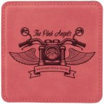 Leatherette Square Coaster -Pink Square Rectangle Awards