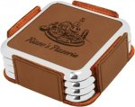 Leatherette Square Coaster Set with Silver Edge -Dark Brown Square Rectangle Awards