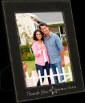 Leatherette Picture Frame -Black/Silver Square Rectangle Awards