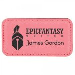 Leatherette Name Badge With Magnet Pink Square Rectangle Awards