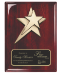 Rosewood Piano Finish plaque with Star Casting Star Plaques