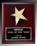 R0930 - 24K Gold Finished Metal Star and Natural Finish Rosewood Plaque Star Plaques