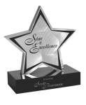 Brushed Silver Aluminum Star Stone Plaque Awards