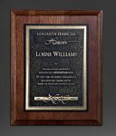 Walnut Panel; Gold Tone Plate Walnut Plaques