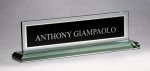 Glass Name Plate with Black Center Wedge Desk Name Plates