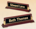 Rosewood Piano Finish Nameplate Wedge Desk Name Plates