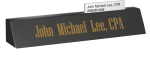 Black Marble Desk Name with Business Card Slot Winner's Choice Catalog