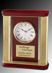 R2511 - Polished Rosewood and Satin Gold Pillar Clock Winner's Choice Catalog