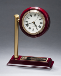 Rail Station Rosewood Piano Finish Photo Desk Clock Wood Metal Accent Awards