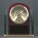 Glass Rosewood Piano Finish Desk Clock Award W/Two Tone Glass Wood Metal Accent Awards