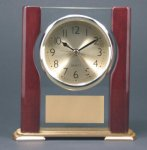 Glass Rosewood Piano Finish Desk Clock Award W/Full Columns Wood Metal Accent Awards